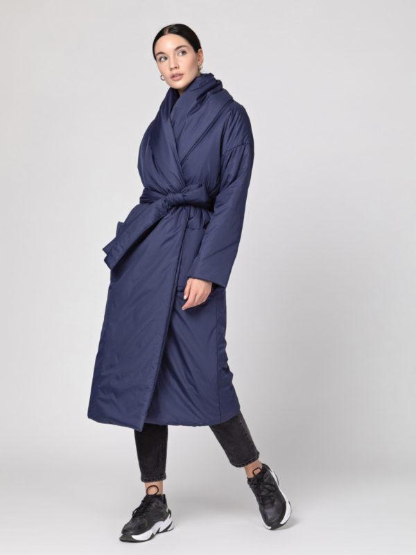 Пуховик-одеяло с шалевым воротником Dark Blue