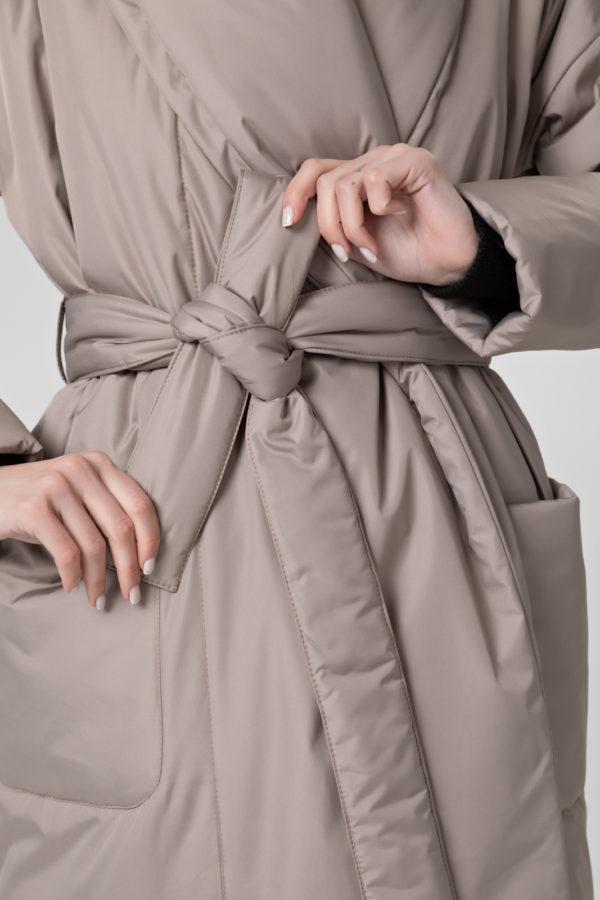 Пуховик-одеяло с шалевым воротником Beige
