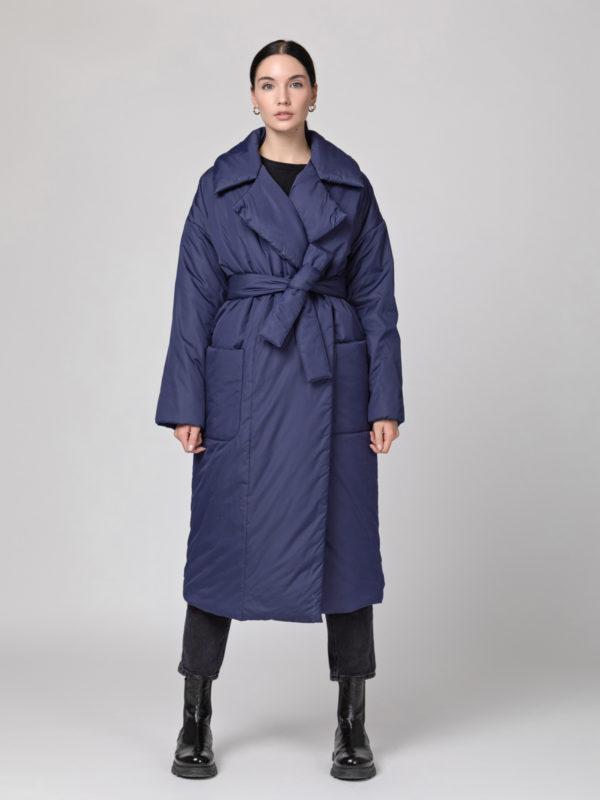 Пуховик-одеяло с английским воротником Dark Blue
