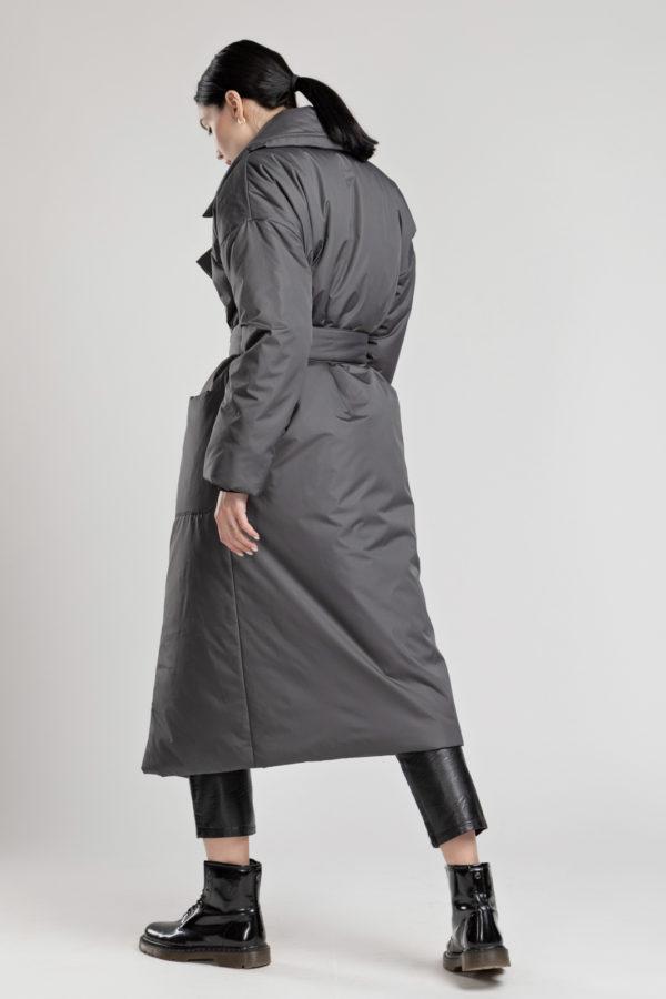 Пуховик-одеяло с английским воротником Asphalt