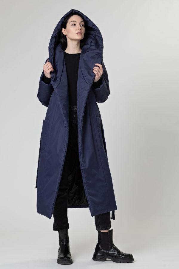 Пуховик-одеяло c капюшоном Dark Blue PHM0211