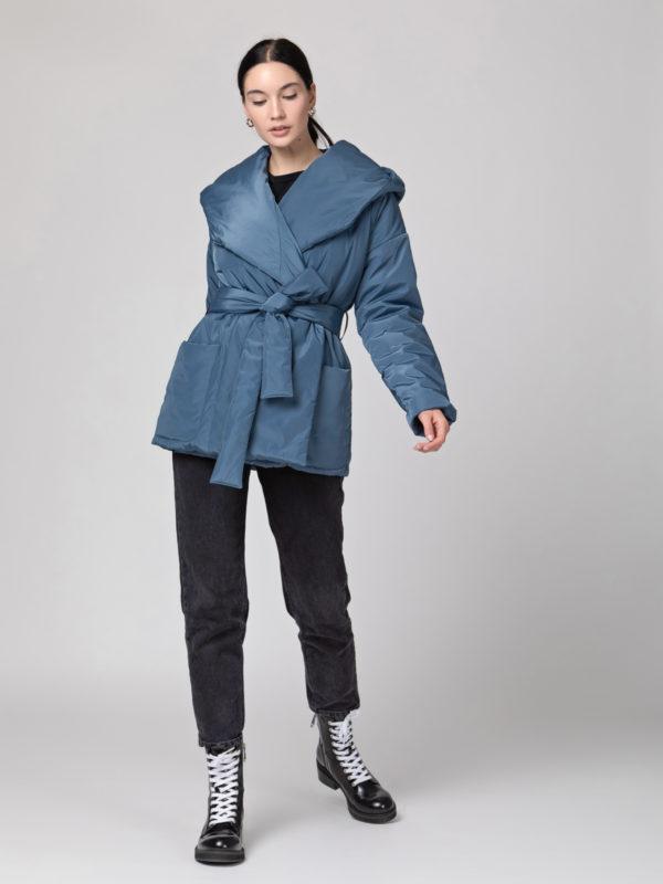 Пуховик с капюшоном короткий Grey blue