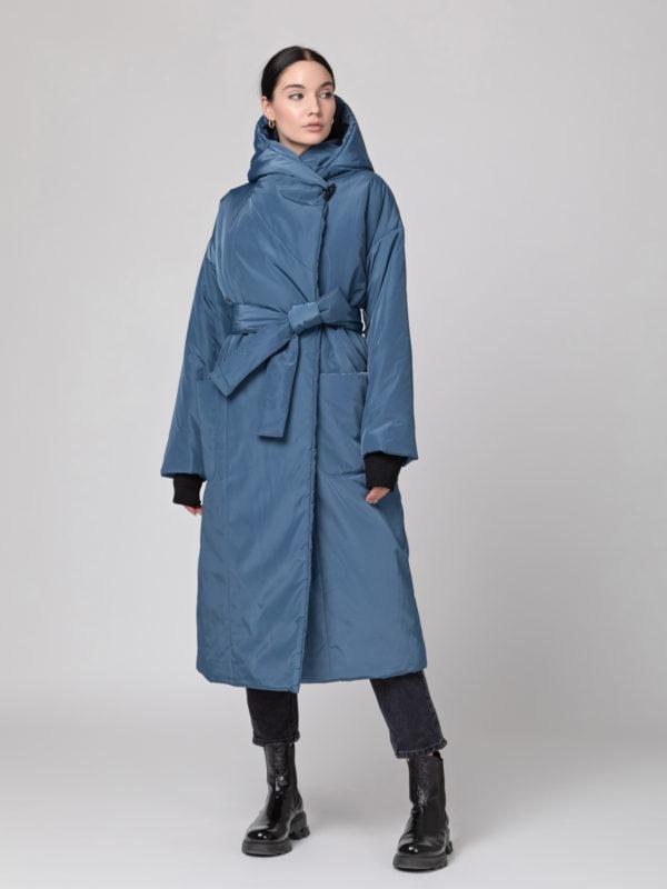 Пуховик-одеяло c капюшоном Grey blue