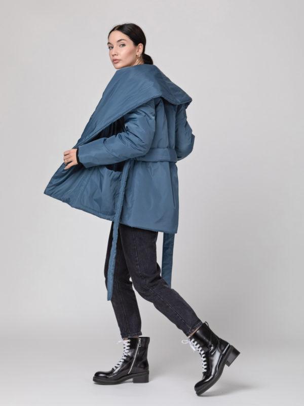 Пуховик с шалевым воротником короткий Grey Blue