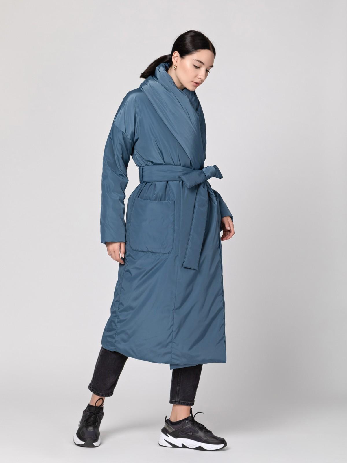 Пуховик-одеяло с шалевым воротником Grey Blue