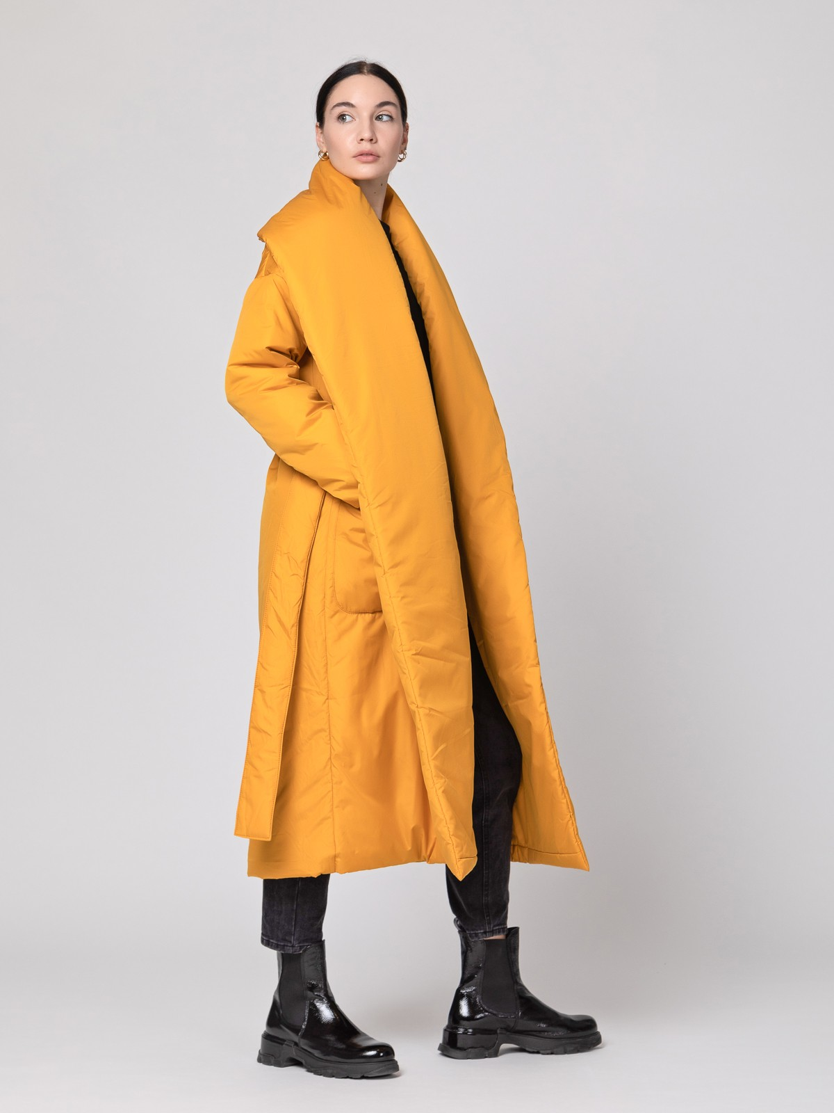 Пуховик-одеяло с шалевым воротником Golden Yellow
