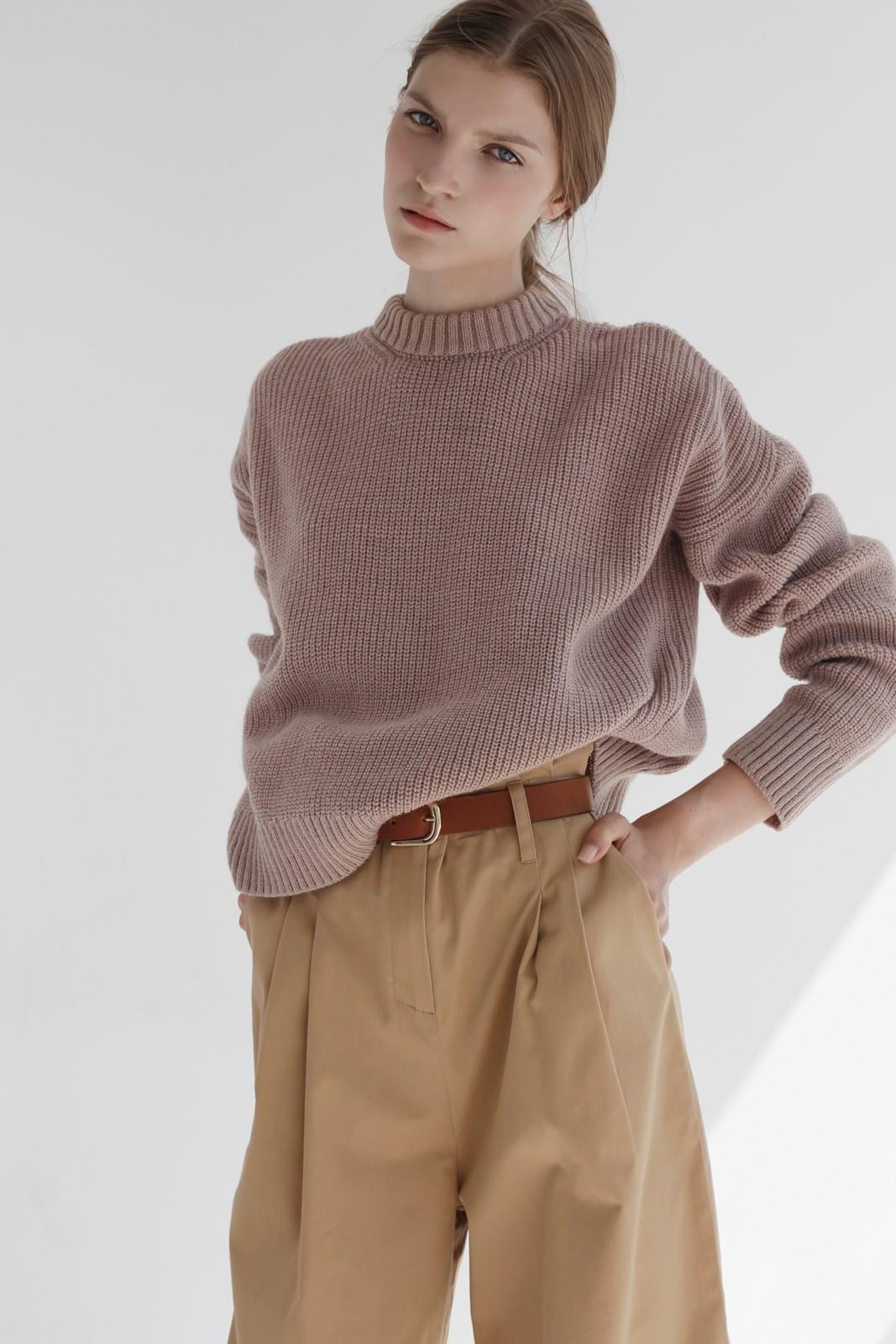 Джемпер с круглым вырезом, пыльно-розовый