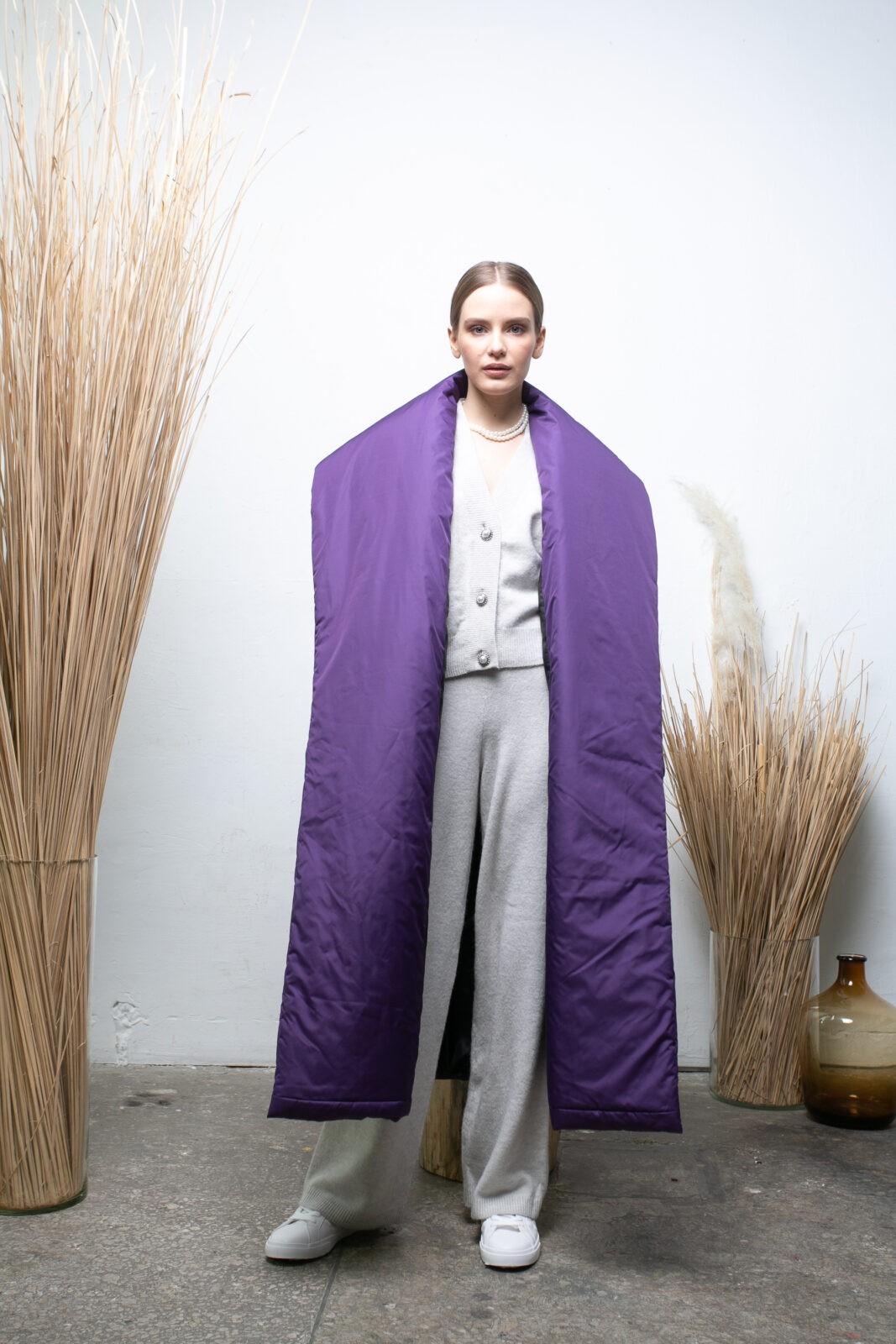 Пуховик-одеяло c шалевым воротником Dark Lilac