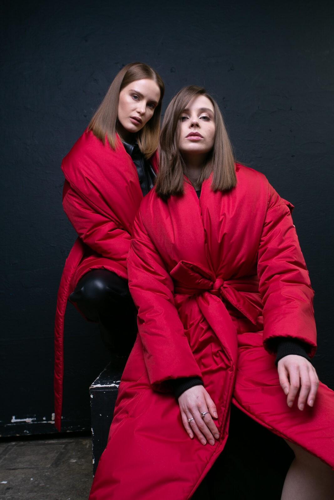 Пуховик-одеяло c шалевым воротником Red
