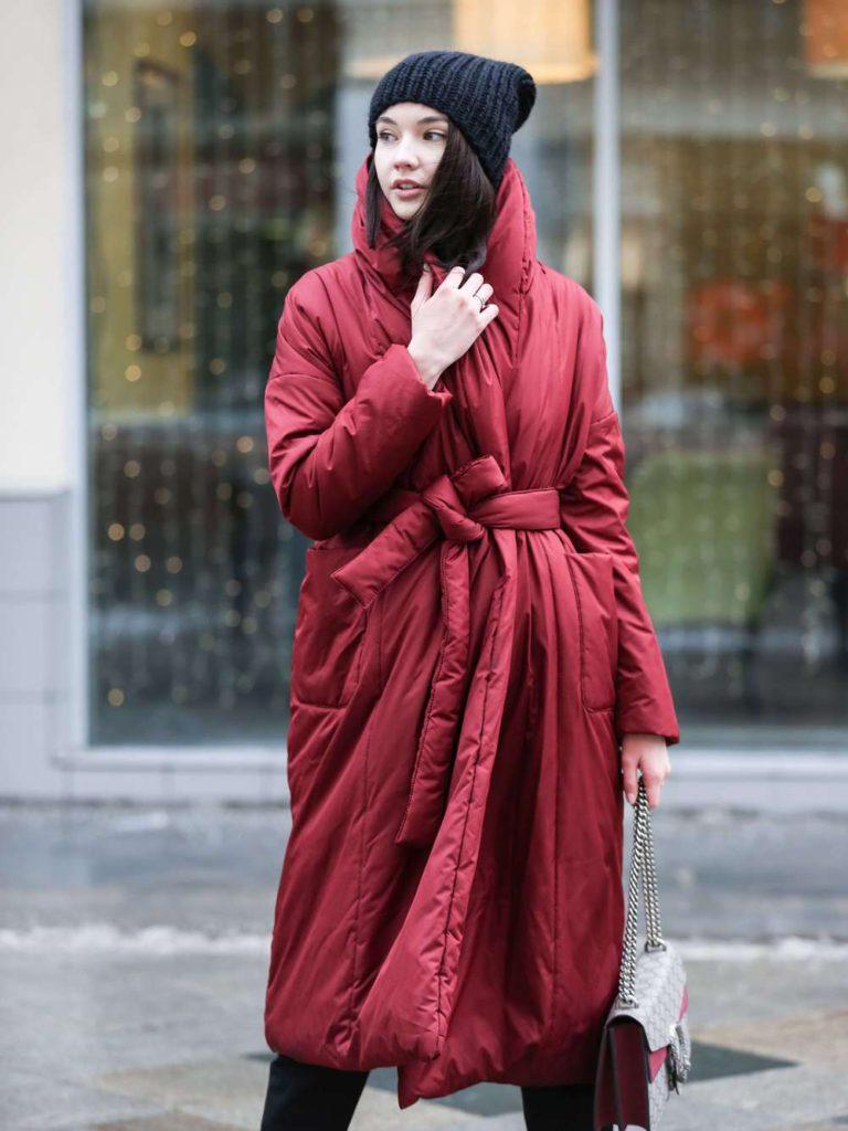 Пуховик-одеяло с шалевым воротником